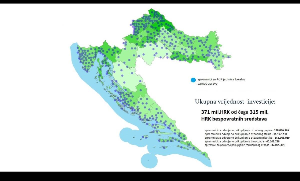 Više od milijun i 230 tisuća spremnika za odvojeno prikupljanje otpada uskoro na javnim površinama diljem Hrvatske
