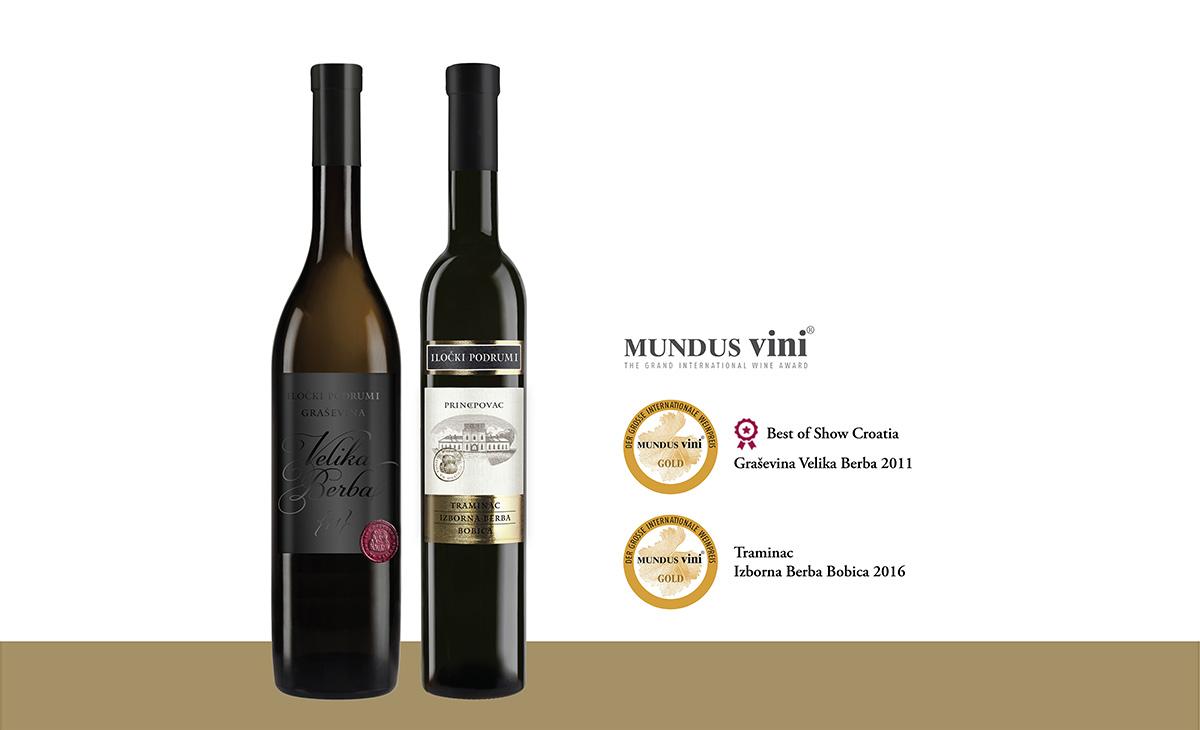 Dva Zlata s elitnih vinskih scena dodijeljena vinima Iločkih podruma