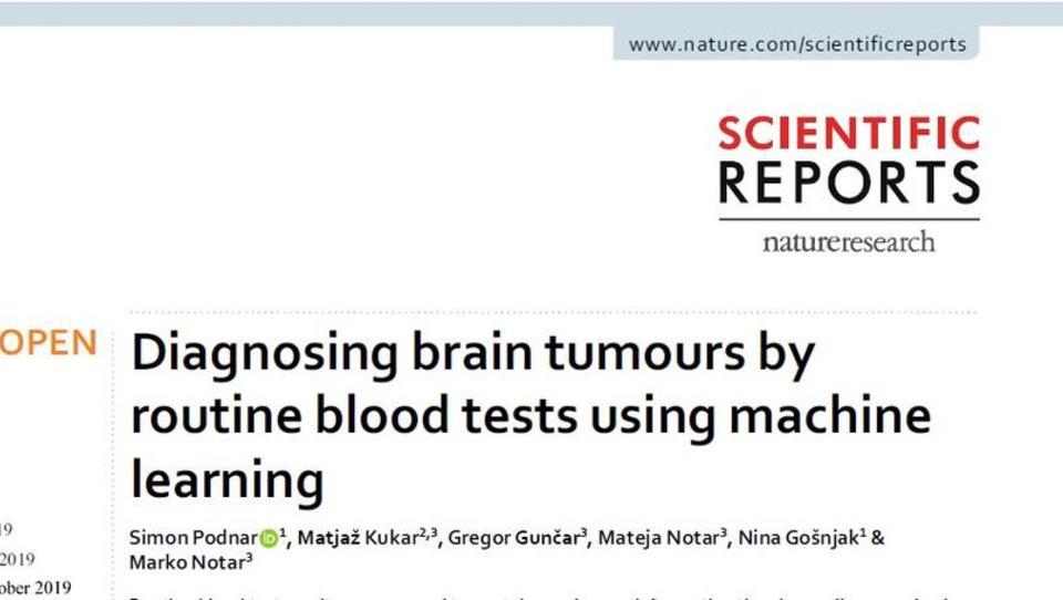 Do diagnoze možganskega tumorja z uporabo običajnih krvnih preiskav
