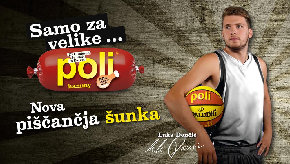 Luka Dončić, Tadej Toš, Enis Bešlagić v kampanji za Poli hammy