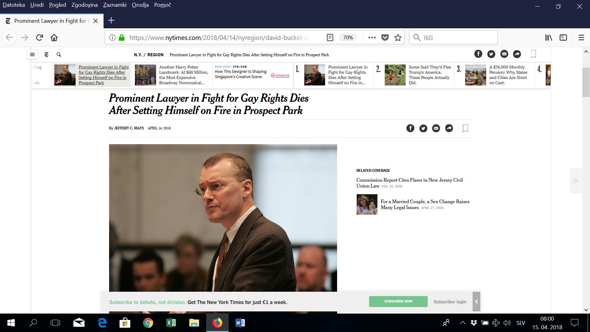 Ameriški odvetnik s samozažigom pozval k odgovornejšemu ravnanju z okoljem