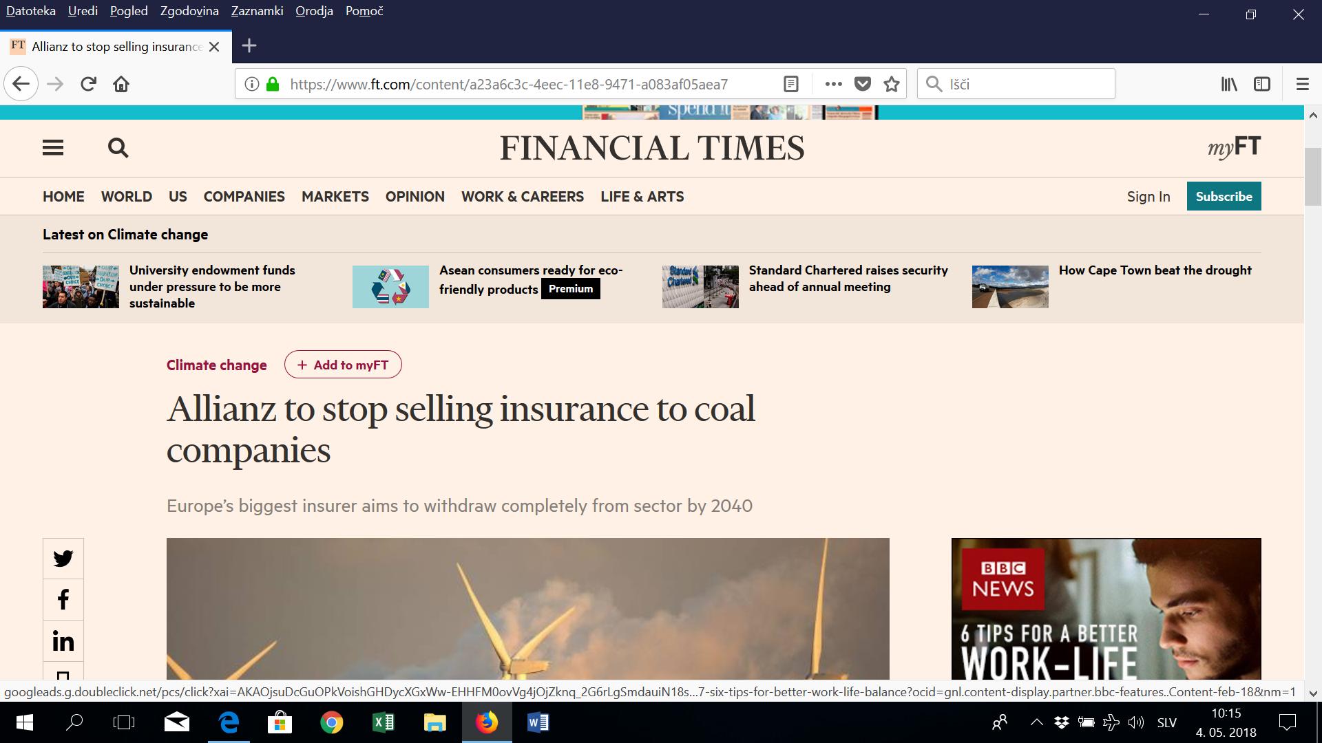 Največja evropska zavarovalnica se poslavlja od zavarovanja premoga