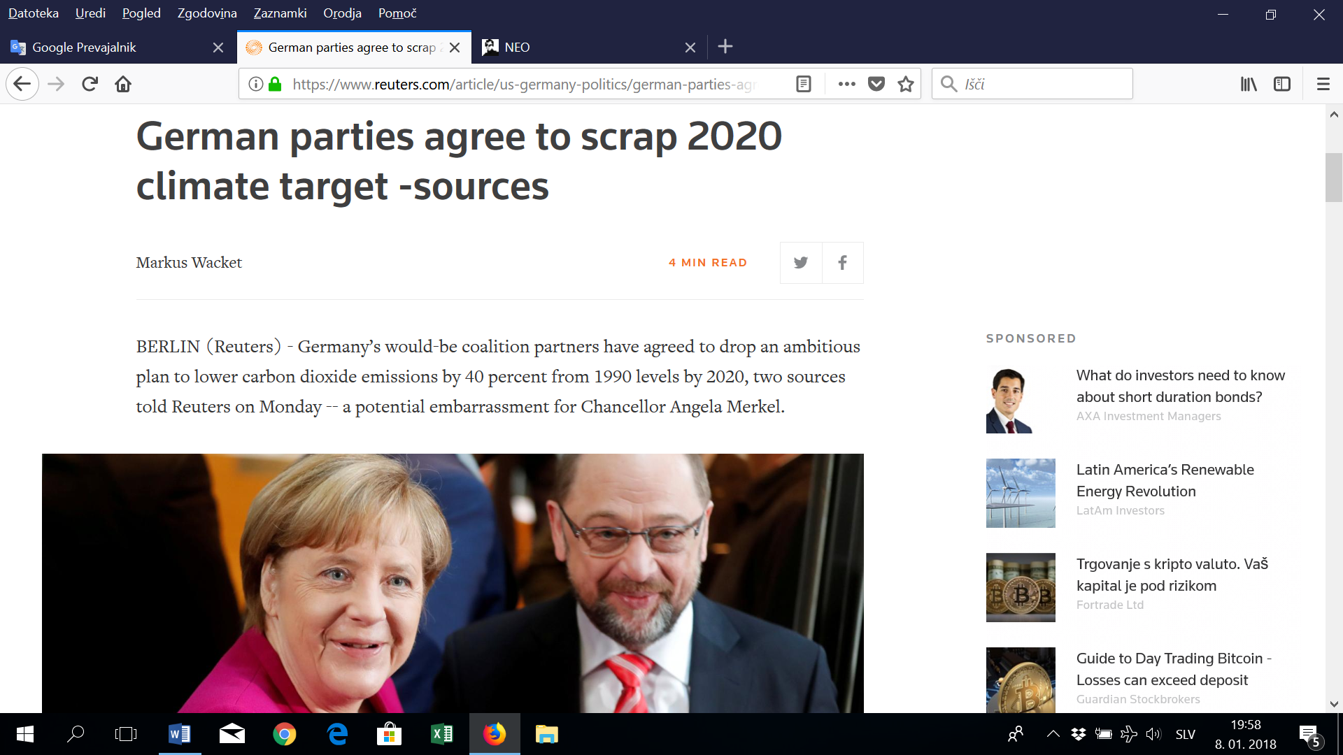 Nemčija z novo koalicijo podnebno manj ambiciozna