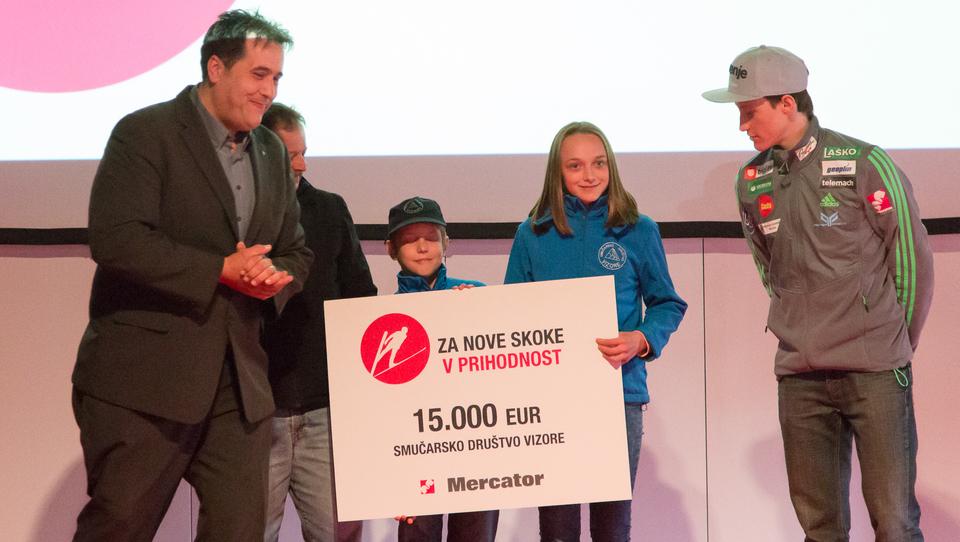 Mercator skupaj s kupci orlom in skakalnim klubom doniral sto tisoč evrov